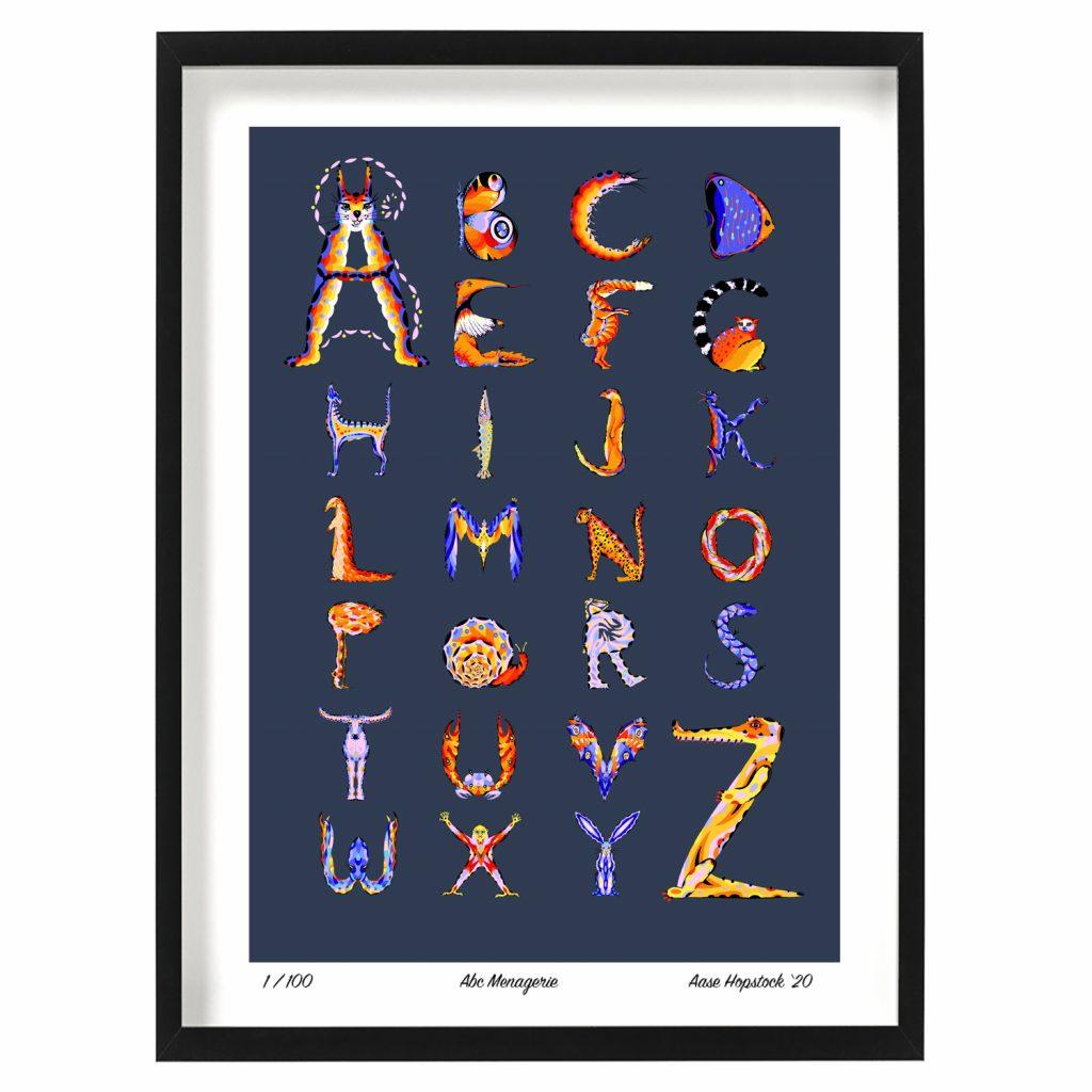 illustrated animal alphabet abc giclee art print aase hopstock