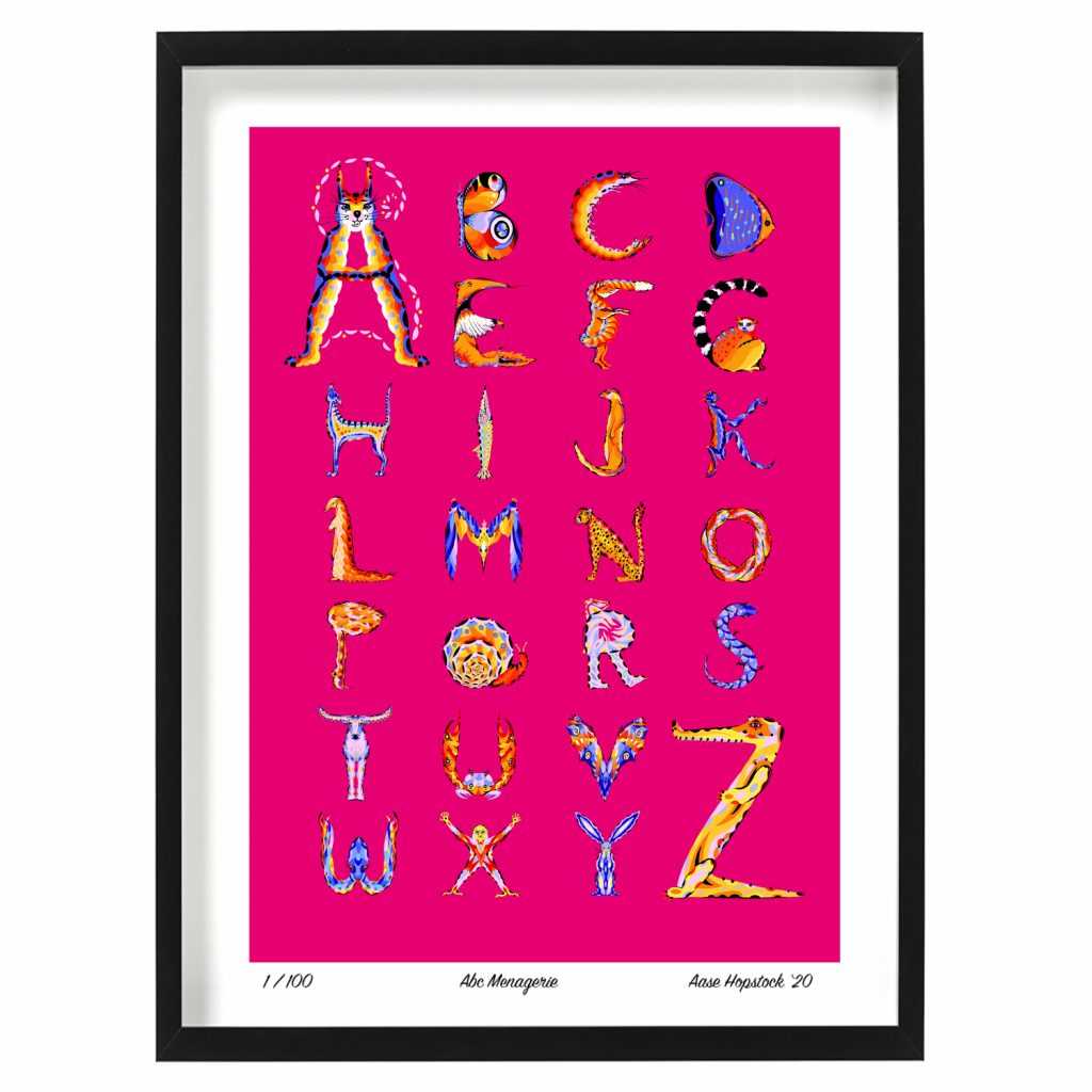 illustrated animal alphabet abc giclee art print aase hopstock