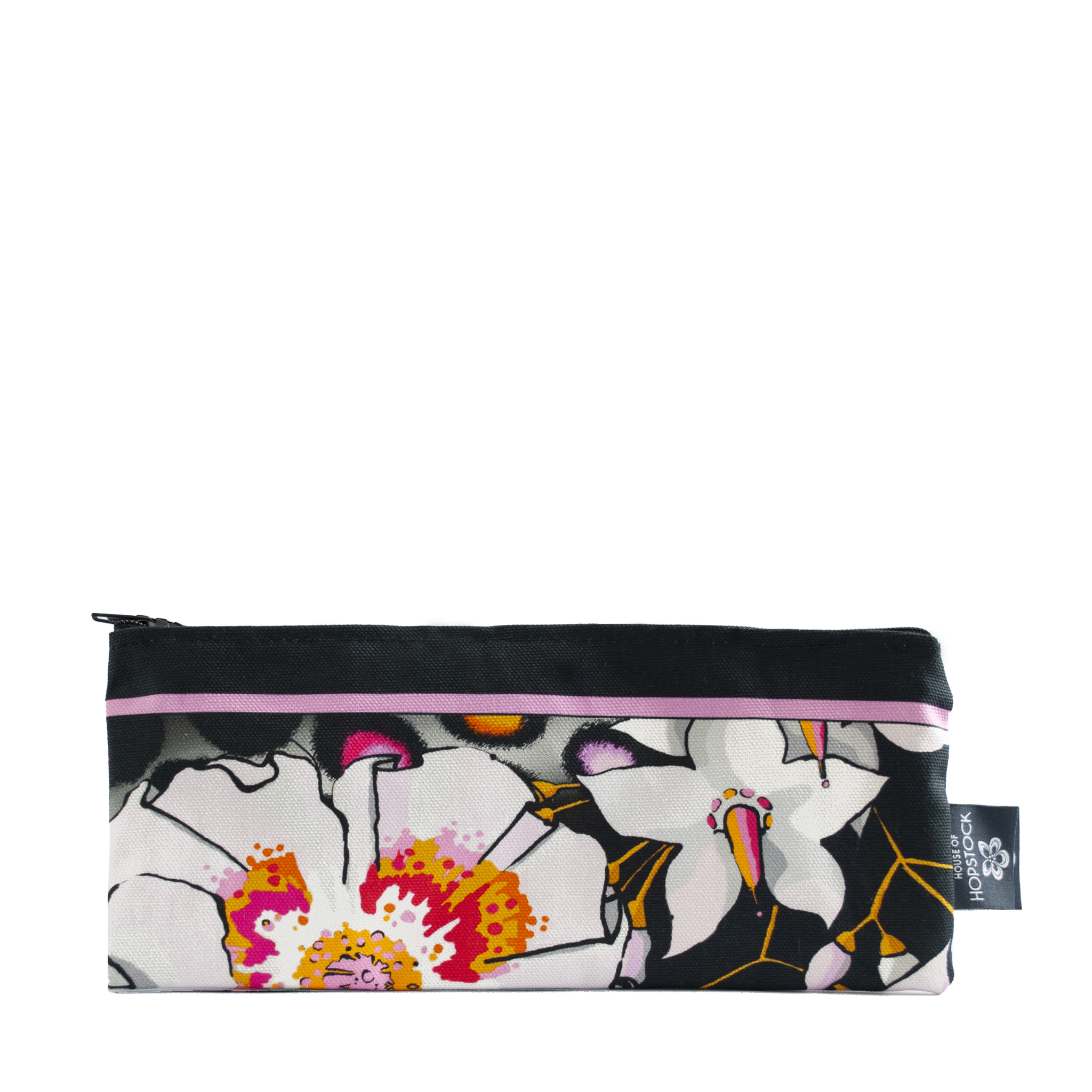 deadly bloom pink teal colourful floral makeup bag was bag pouch cotton