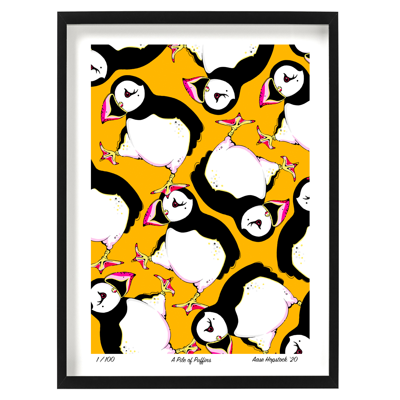 puffin b yellow orange pink white artprint giclee aase hopstock