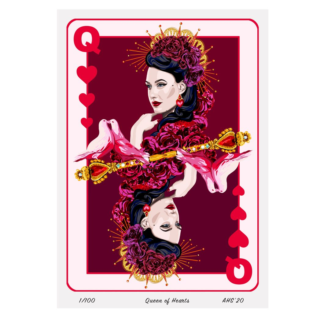 queen of hearts playing card illustrated giclee art print aase hopstock burlesque