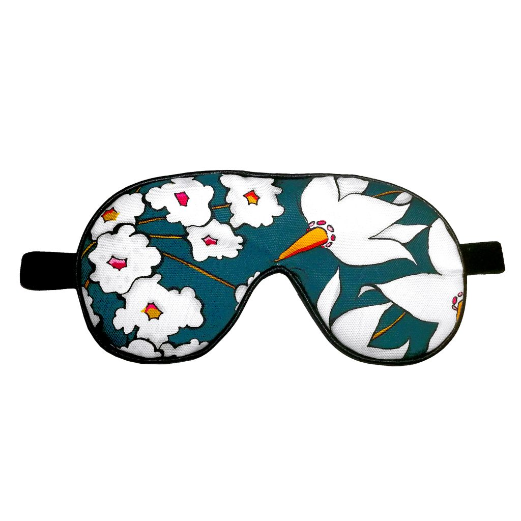 Floral Print Eye Mask 'Deadly Bloom' teal