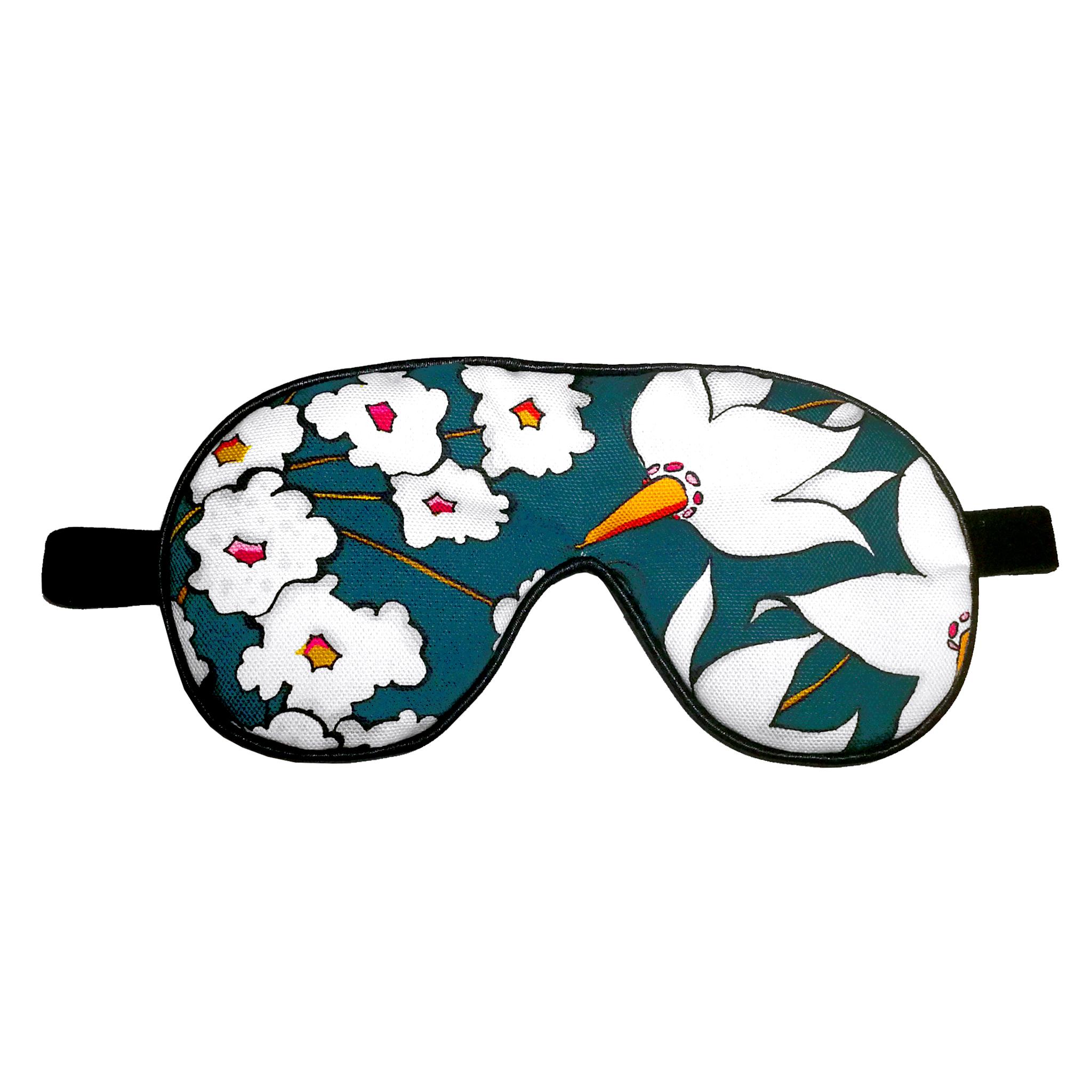 Floral Print Eye Mask 'Deadly Bloom' teal