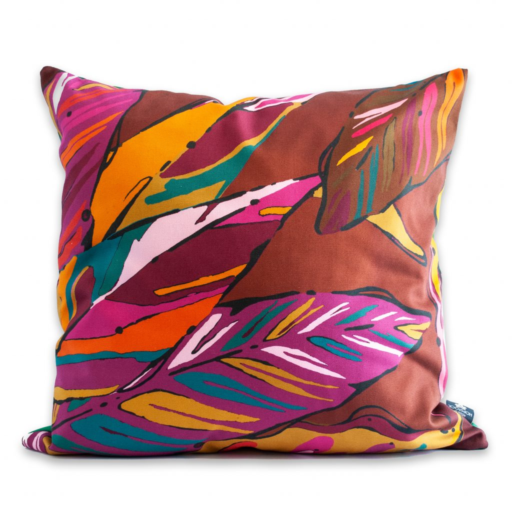 leaf foliage print cushion cover