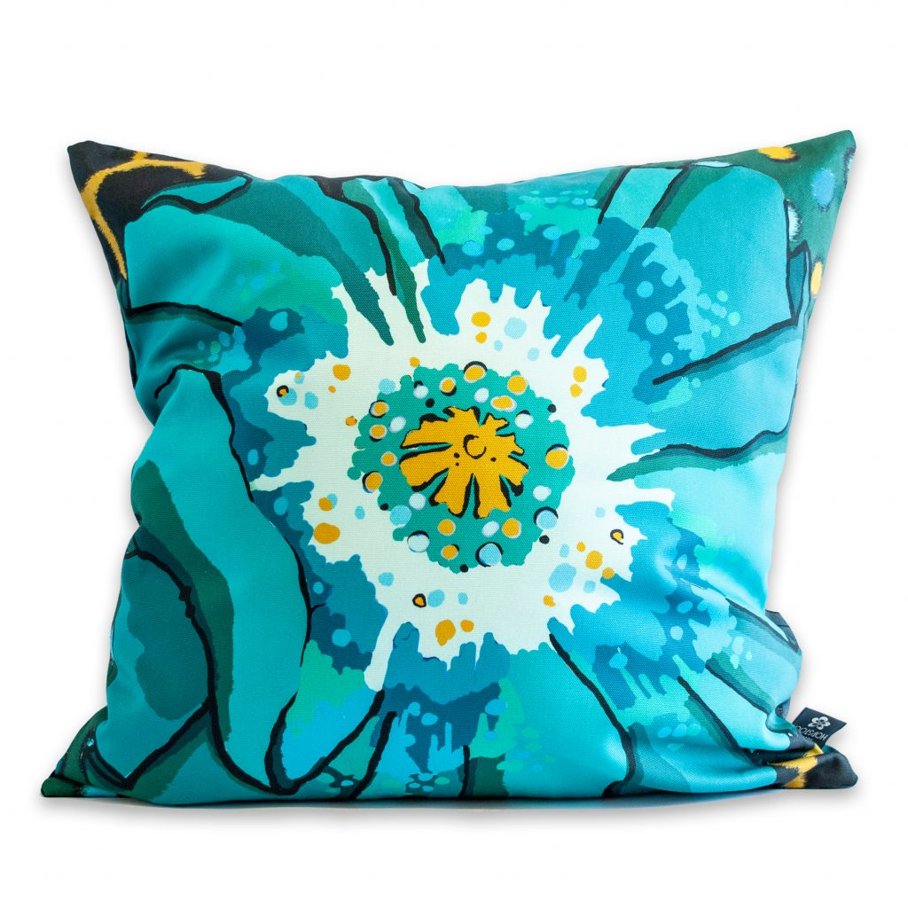 poppy floral print cushion cover