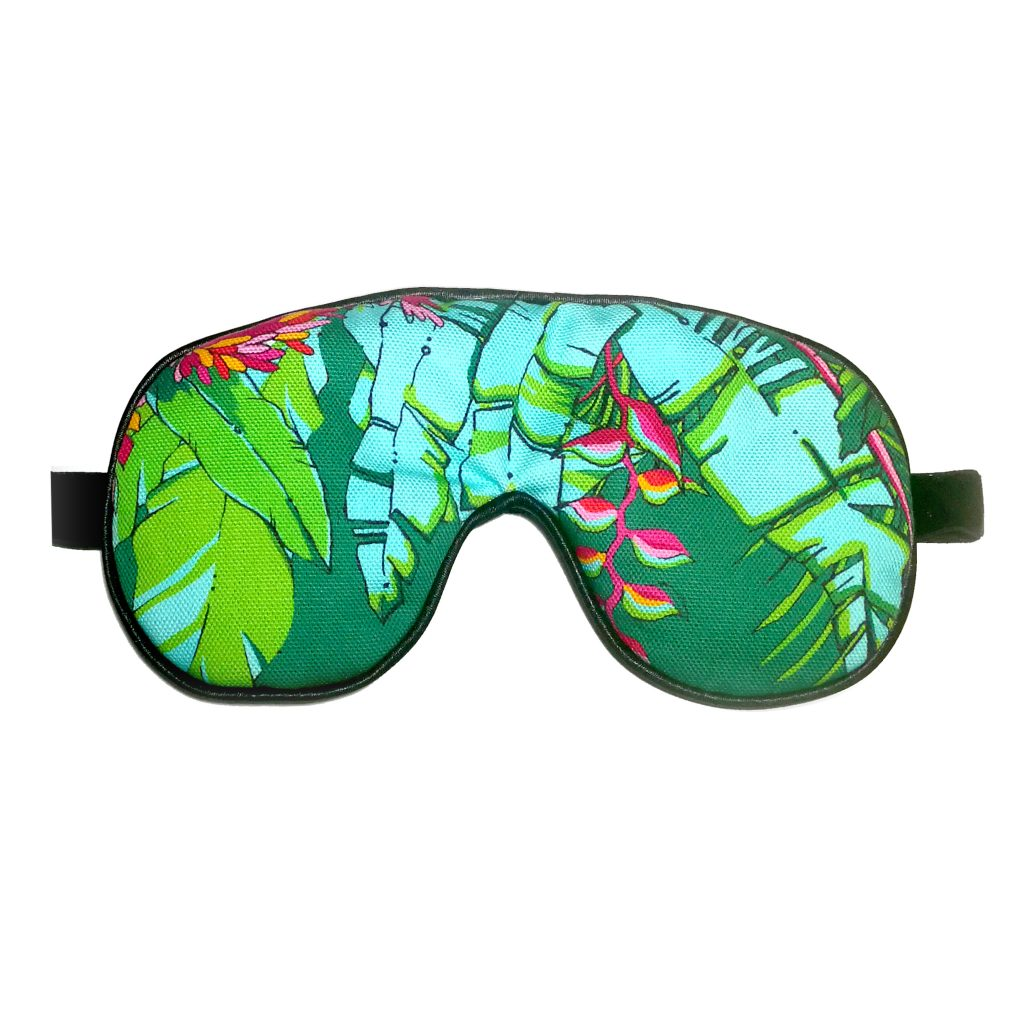 colourful tropical palm print lavender eye mask sleep mask house of hopstock