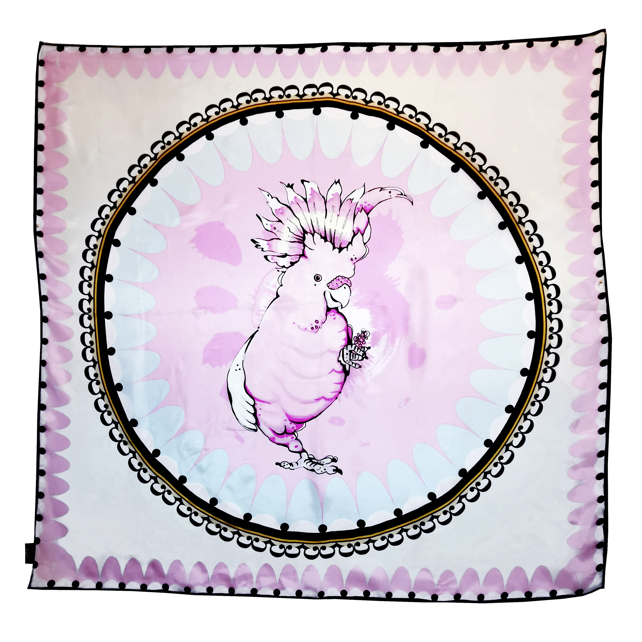 bird cockatoo large modal cashmere scarf pastel pink house of hopstock