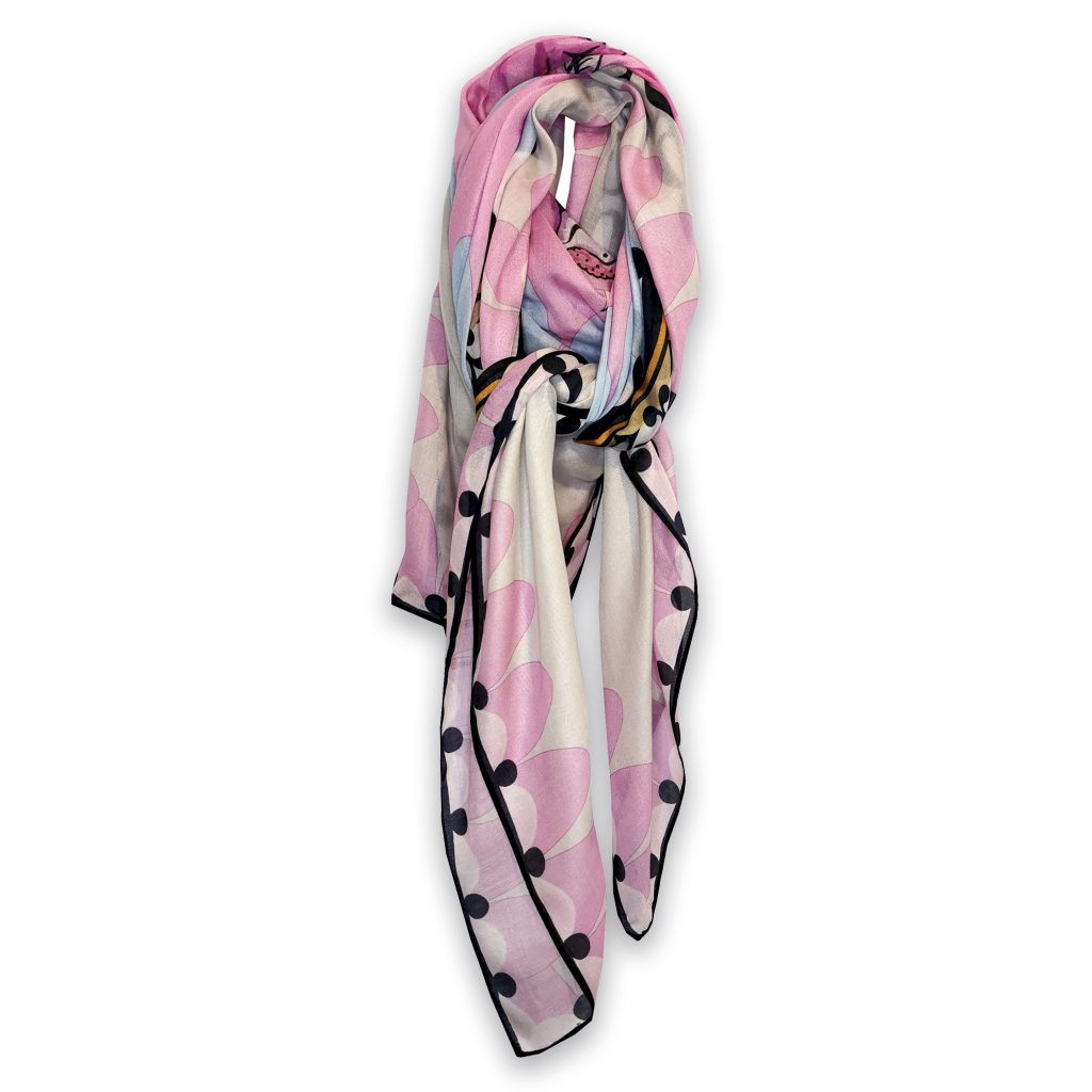 pastel pink bird cockatoo modal cashmere large scarf shawl house of hopstock
