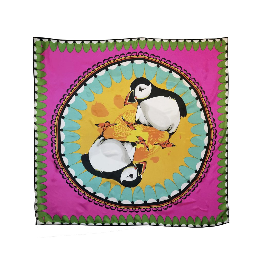 bird puffin large modal cashmere scarf bright pink house of hopstock