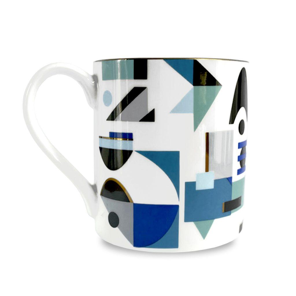 space odyssey nebula geometric print fine bone china mug blue teal house of hopstock