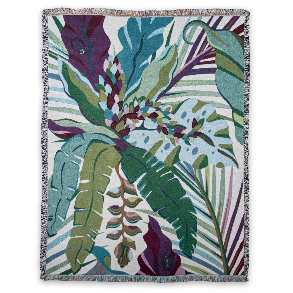 tropical jungle palm print blanket recycled cotton house of hopstock