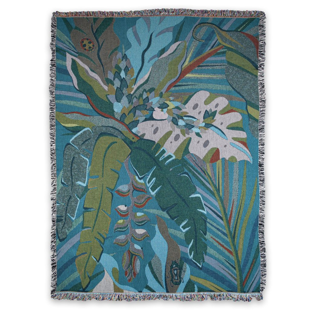 recycled cotton blanket palm print tropical jungle house of hopstock