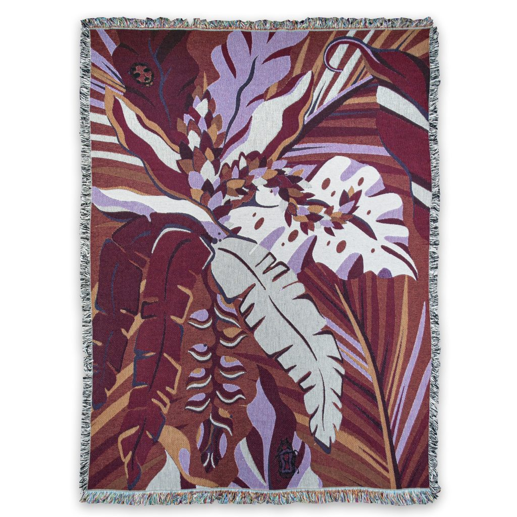 tropicana ruby recycled cotton blanket house of hopstock