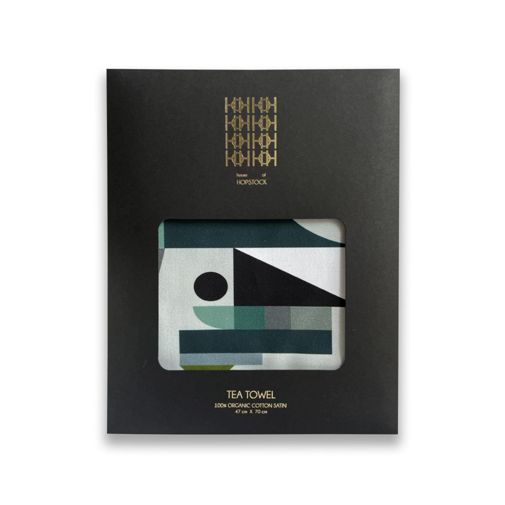 space odyssey borealis geometric print abstract organic cotton tea towel house of hopstock