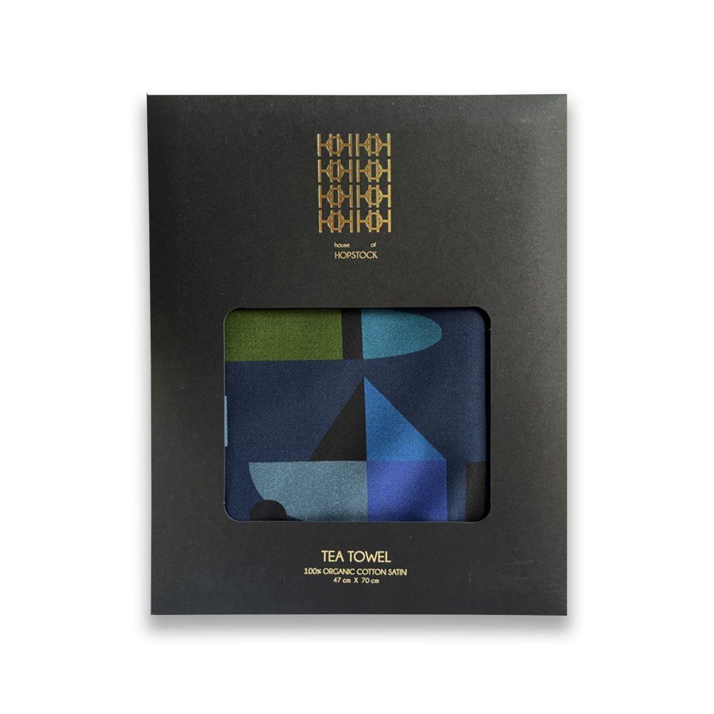 space odyssey nebula geometric print abstract organic cotton tea towel house of hopstock