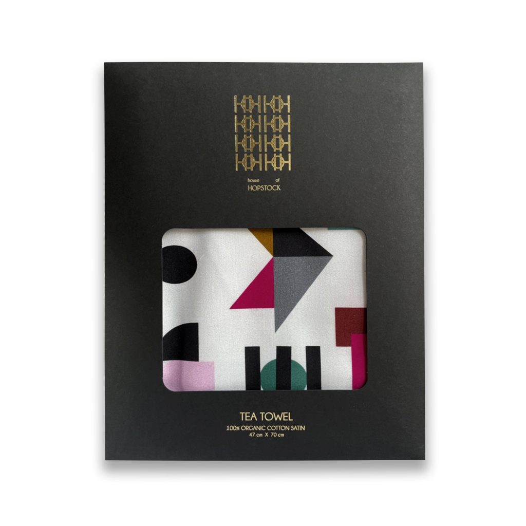 space odyssey tellus geometric print abstract organic cotton tea towel house of hopstock